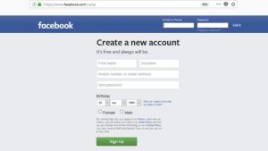 facebook sign up. Create a Facebook account