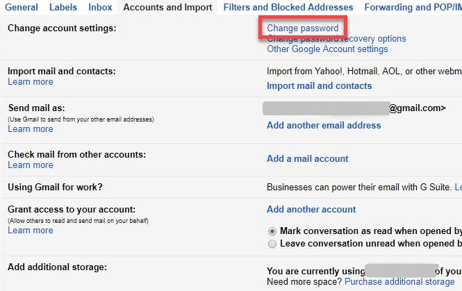 gmail change password
